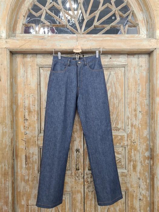 БРЮКИ ШИРОКИЕ ПРЯМЫЕ в ПОЛ  с высокой талией и накладными карманами (джинс) - фото 10509