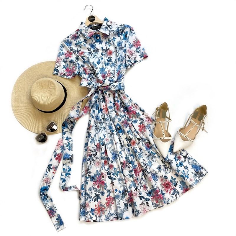 ПЛАТЬЕ-РУБАШКА с рубашечным воротником и юбкой на сборке, цветочное (ЛЕТО) - фото 5088