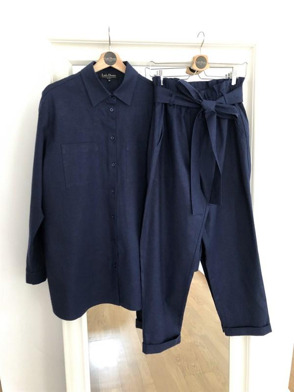 КОСТЮМ ЛЬНЯНОЙ (рубашка свободная и брюки зауженные на резинке с поясом-бант) - фото 5491
