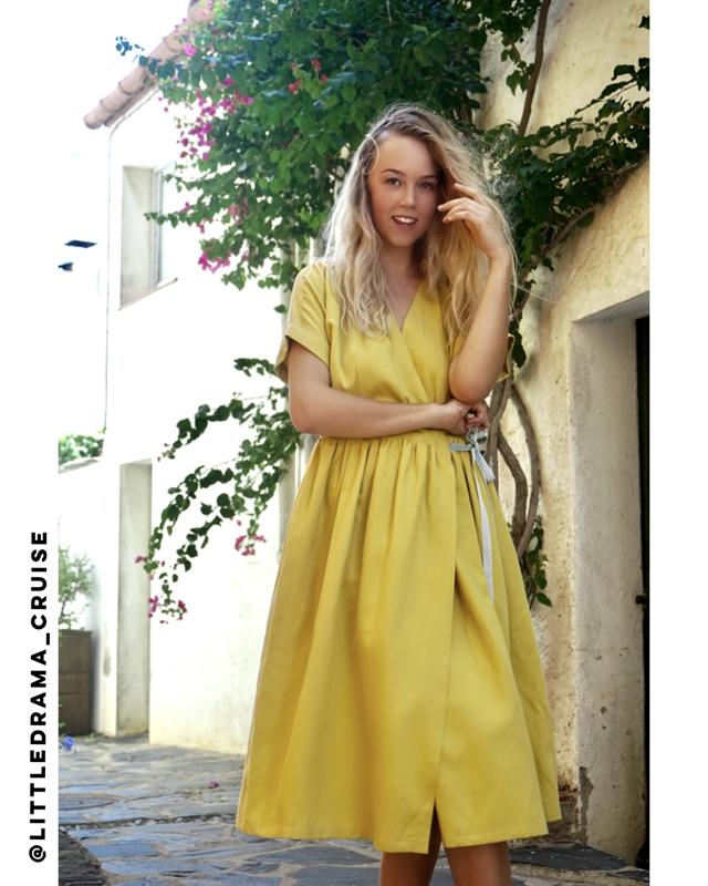 ПЛАТЬЕ МИДИ-ЛЕН НА ЗАПАХЕ из желтого льна - фото 5707