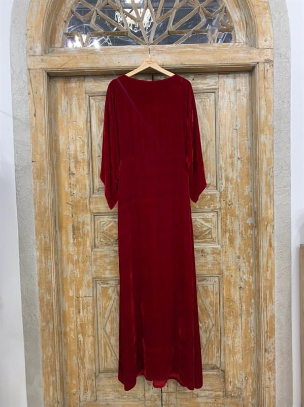 ПЛАТЬЕ КИМОНО-рукава вечернее в пол из бархата с разрезом на спине - фото 6410