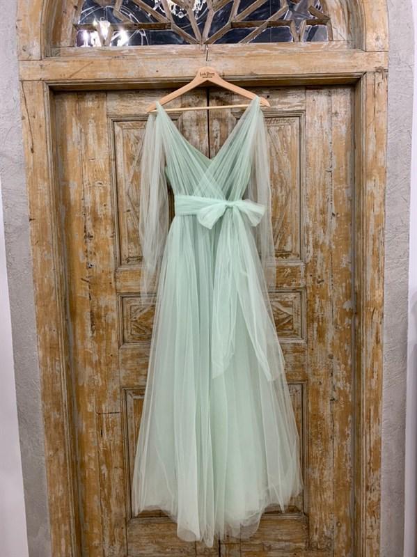 ПЛАТЬЕ вечернее - SWAN - в пол, из фатина на завязках, юбка солнце, с комбинацией - фото 6513
