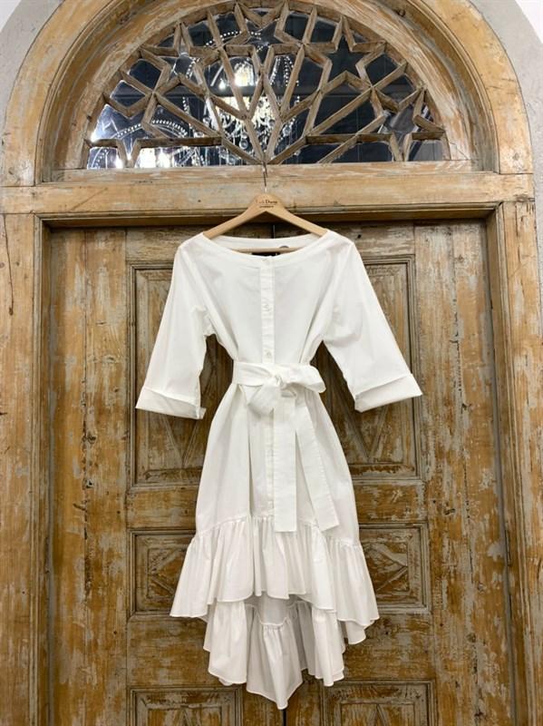 ТУНИКА платье-рубашка свободное с оборкой - фото 7043
