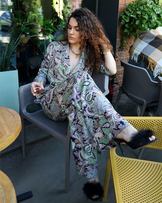 БРЮКИ свободные в пижамном стиле на мягкой резинке (из вискозы в огурцы) - фото 8554
