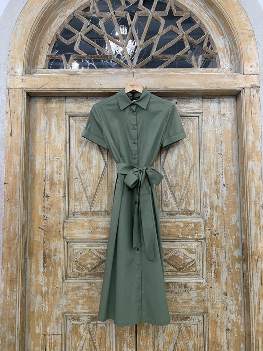 ПЛАТЬЕ-РУБАШКА с рубашечным воротником и юбкой со складками (ЛЕТО) , длина 80 см. - фото 8615