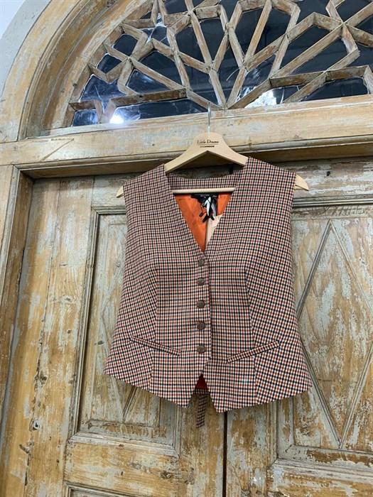 ЖИЛЕТКА для костюма-тройки (из полушерсти в клетку) - фото 8687