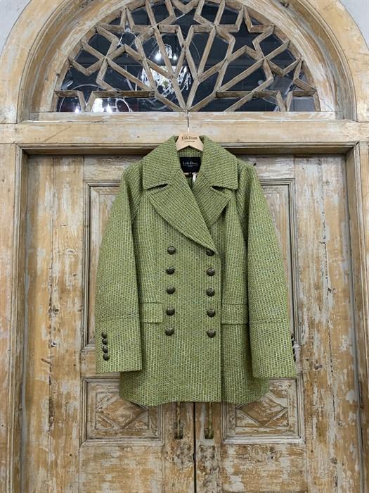 БУШЛАТ из шерстяного твида в зеленую елочку (утепленный) - фото 9219
