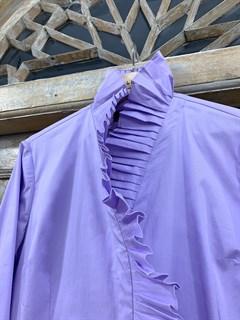 РУБАШКА КЛАССИКА приталенная с оборкой-плиссе (из хлопка) - фото 10422