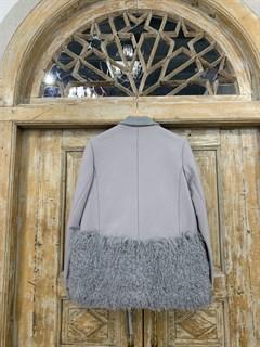 ПАЛЬТО короткое с отделкой ламой с вязаным воротником и подвязами (из шерсти) - фото 10471