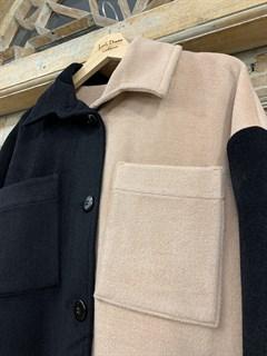 ПАЛЬТО-РУБАШКА двухцветное, из премиальной шерсти - фото 10479