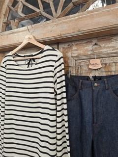 БРЮКИ ШИРОКИЕ ПРЯМЫЕ в ПОЛ  с высокой талией и накладными карманами (джинс) - фото 10502