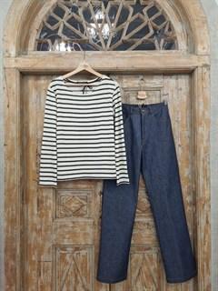 БРЮКИ ШИРОКИЕ ПРЯМЫЕ в ПОЛ  с высокой талией и накладными карманами (джинс) - фото 10503