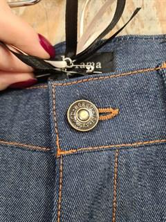 БРЮКИ ШИРОКИЕ ПРЯМЫЕ в ПОЛ  с высокой талией и накладными карманами (джинс) - фото 10504