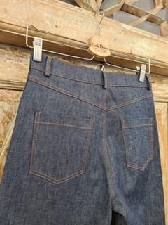 БРЮКИ ШИРОКИЕ ПРЯМЫЕ в ПОЛ  с высокой талией и накладными карманами (джинс) - фото 10505