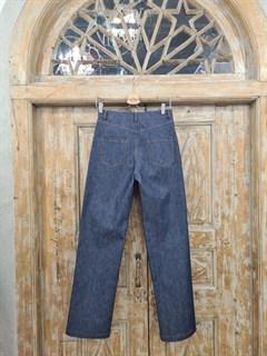 БРЮКИ ШИРОКИЕ ПРЯМЫЕ в ПОЛ  с высокой талией и накладными карманами (джинс) - фото 10506