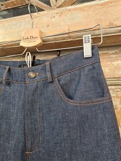 БРЮКИ ШИРОКИЕ ПРЯМЫЕ в ПОЛ  с высокой талией и накладными карманами (джинс) - фото 10507
