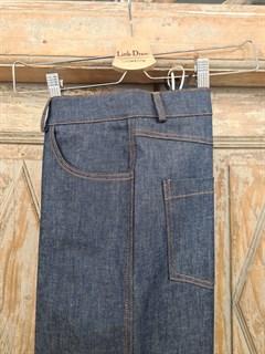 БРЮКИ ШИРОКИЕ ПРЯМЫЕ в ПОЛ  с высокой талией и накладными карманами (джинс) - фото 10510