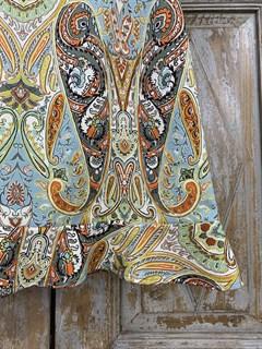 ЮБКА (ТРАПЕЦИЯ, МИНИ, с воланом, из джинсовой ткани в огурцы) - фото 10849