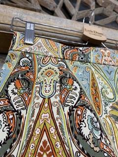 ЮБКА (ТРАПЕЦИЯ, МИНИ, из джинсовой ткани в огурцы) - фото 10853