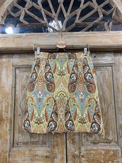 ЮБКА (ТРАПЕЦИЯ, МИНИ, из джинсовой ткани в огурцы) - фото 10854
