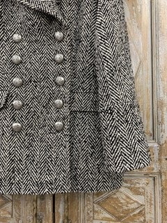 БУШЛАТ из шерстяного твида в елочку (утепленный) - фото 10871