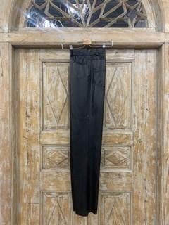 БРЮКИ ШИРОКИЕ ПРЯМЫЕ в ПОЛ  с высокой талией и накладными карманами (из ЭКО-кожи) - фото 11011