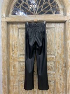 БРЮКИ ШИРОКИЕ ПРЯМЫЕ в ПОЛ  с высокой талией и накладными карманами (из ЭКО-кожи) - фото 11016