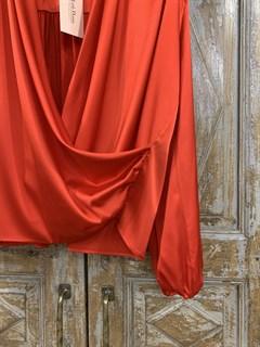 БЛУЗКА на запАхе с мягкой драпировкой (искусственный шелк) - фото 11044