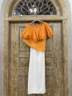 БЛУЗКА на 1 плечо с пышным воланом, без рукавов (из шелковой органзы) - фото 11136