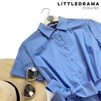 ПЛАТЬЕ-РУБАШКА с рубашечным воротником и юбкой со складками (67 см длина) - фото 4679