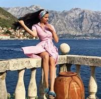 ПЛАТЬЕ-РУБАШКА с рубашечным воротником и юбкой со складками (67 см длина) - фото 4683