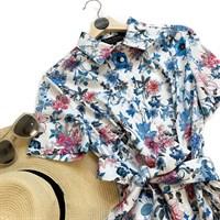 ПЛАТЬЕ-РУБАШКА с рубашечным воротником и юбкой на сборке, цветочное (ЛЕТО) - фото 5087