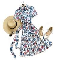 ПЛАТЬЕ-РУБАШКА с рубашечным воротником и юбкой на сборке, цветочное (ЛЕТО)