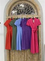 ПЛАТЬЕ-РУБАШКА с рубашечным воротником и юбкой со складками (67 см длина) - фото 5111