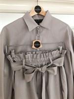 КОСТЮМ ЛЬНЯНОЙ (рубашка свободная и брюки зауженные на резинке с поясом-бант) - фото 5498