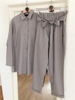 КОСТЮМ ЛЬНЯНОЙ (рубашка свободная и брюки зауженные на резинке с поясом-бант) - фото 5499