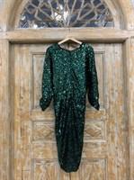ПЛАТЬЕ из пайеток МИДИ (рукав летучая мышь, юбка на запахе, V-вырез) - фото 6255