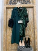 ПЛАТЬЕ из пайеток МИДИ (рукав летучая мышь, юбка на запахе, V-вырез) - фото 6258