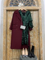 ПЛАТЬЕ из пайеток МИДИ (рукав летучая мышь, юбка на запахе, V-вырез) - фото 6260