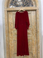 ПЛАТЬЕ КИМОНО-рукава вечернее в пол из бархата с разрезом на спине - фото 6411