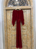 ПЛАТЬЕ КИМОНО-рукава вечернее в пол из бархата с разрезом на спине - фото 6413
