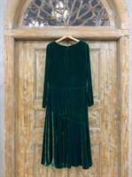 ПЛАТЬЕ театральное прямое с юбкой воланом по косой из бархата - фото 6450