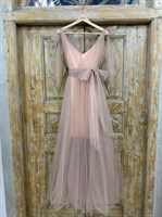 ПЛАТЬЕ вечернее - SWAN - в пол, из фатина на завязках, юбка солнце, с комбинацией - фото 6507