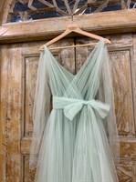 ПЛАТЬЕ вечернее - SWAN - в пол, из фатина на завязках, юбка солнце, с комбинацией - фото 6514