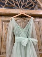 ПЛАТЬЕ вечернее - SWAN - в пол, из фатина на завязках, юбка солнце, с комбинацией - фото 6515