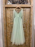 ПЛАТЬЕ вечернее - SWAN - в пол, из фатина на завязках, юбка солнце, с комбинацией - фото 6516