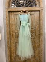 ПЛАТЬЕ вечернее - SWAN - в пол, из фатина на завязках, юбка солнце, с комбинацией - фото 6518