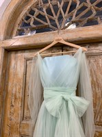 ПЛАТЬЕ вечернее - SWAN - в пол, из фатина на завязках, юбка солнце, с комбинацией - фото 6519
