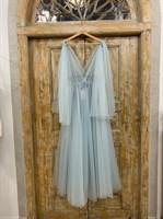 ПЛАТЬЕ вечернее - SWAN - в пол, из фатина на завязках, юбка солнце, с комбинацией - фото 6524