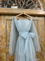 ПЛАТЬЕ вечернее - SWAN - в пол, из фатина на завязках, юбка солнце, с комбинацией - фото 6526